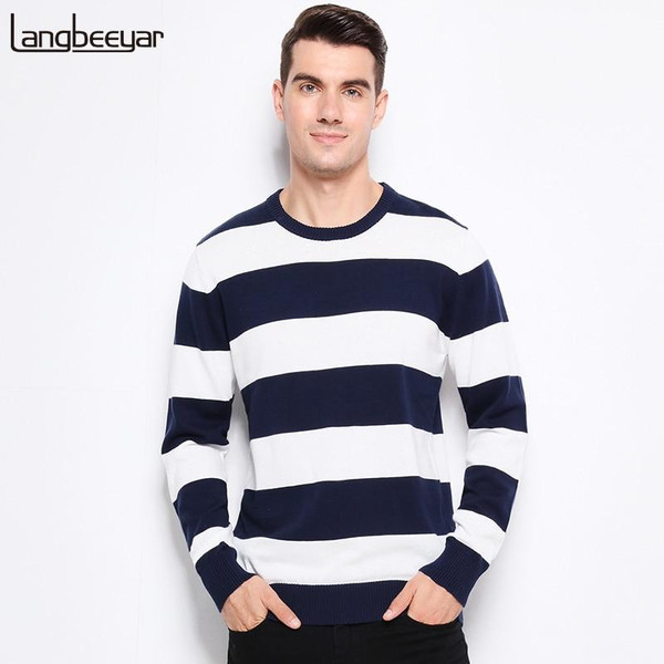 Autumn Winter Fashion Brand Clothing Men Knitted Sweater Thick Stripes Slim Fit Pullover Men 100% Cotton O-Neck Sweaters For Men - Joelinks store