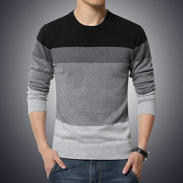 2019 Autumn Casual Men's Sweater O-Neck Striped Slim Fit Knittwear Mens Sweaters Pullovers Pullover Men Pull Homme M-3XL - Joelinks store