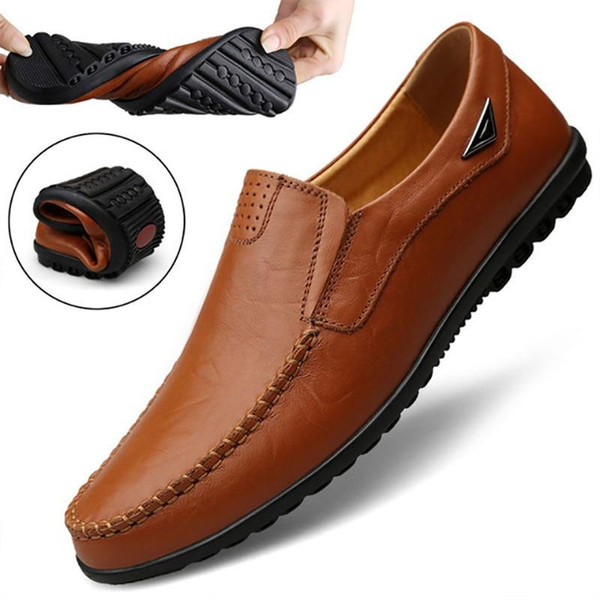 Men Shoes Genuine leather Loafers Men Casual Shoes Flats  Moccasins Soft Slip On For Male Footwear Driving Shoes RMC-043 - Joelinks store
