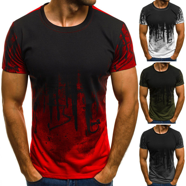 E-BAIHUI Men Fitness Compression T-Shirt Casual cotton Black and red gradient High quality Slim shirt Men Fashion Tee tops CG002 - Joelinks store