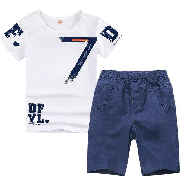 3-14Y Big Size Boys Clothing Fashion Print Children Clothing 2018 Summer Boys Clothing Sets Short Sleeve Kids Clothes for Boys - Joelinks store