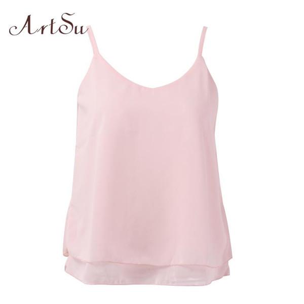 ArtSu Women Sexy Tank Tops Sleeveless Bodycon Temperament Blouse Vest Loose Chiffon Top Vest Casual Camis Women Tanks LDVE60008 - Joelinks store