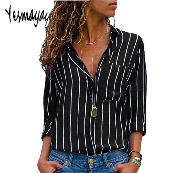 Black Red Striped Blouse Womens Tops And Blouses Long Sleeves Women Blusas Mujer De Moda  Autumn V Neck Blouse Shirt - Joelinks store