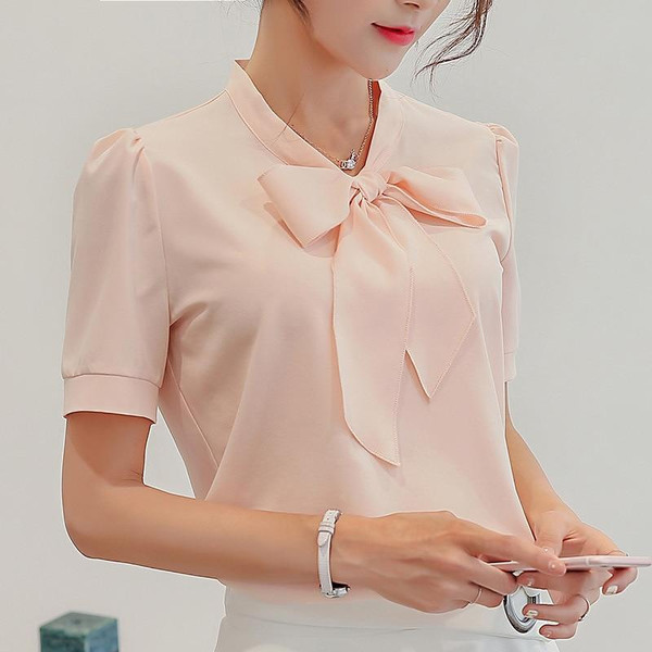 3XL Blue White Pink Blouse New Summer Female Tops Plus Size Shirts Casual Top Fashion Slim Short Sleeve Chiffon Shirt Blusas - Joelinks store
