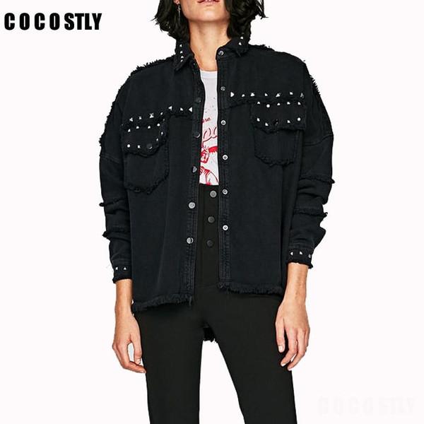 Studded Frayed Hem Denim Jacket Women Coats Black Lapel Single Breasted 2019 Women's Jackets and Coats - Joelinks store