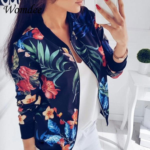 2018 Women Coat Retro Floral Print Zipper Up Jacket Casual Coat Autumn Long Sleeve Outwear Women Basic Jacket Bomber Famale 5XL - Joelinks store