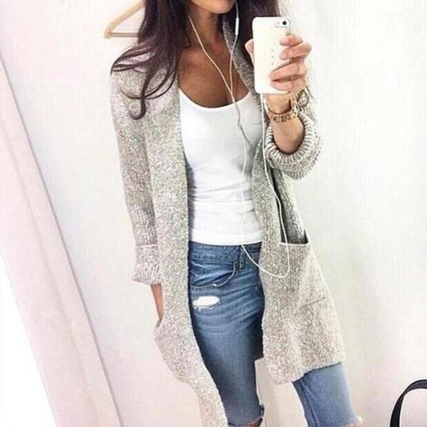 Cardigan Solid Long Sweater Women 2019 Autumn Winter Female Coat Plus Size 5XL Pockets Casual Knitted Long Sweaters Streetwear - Joelinks store