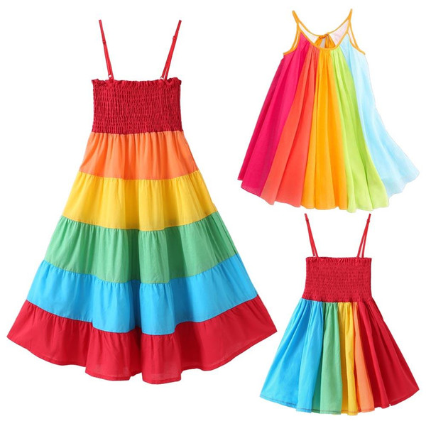 New Baby Girl Dress Clothes Toddler Kids Girls Princess Clothes Rainbow Color Block Colorful Sling Party Dresses Vestido Infant - Joelinks store