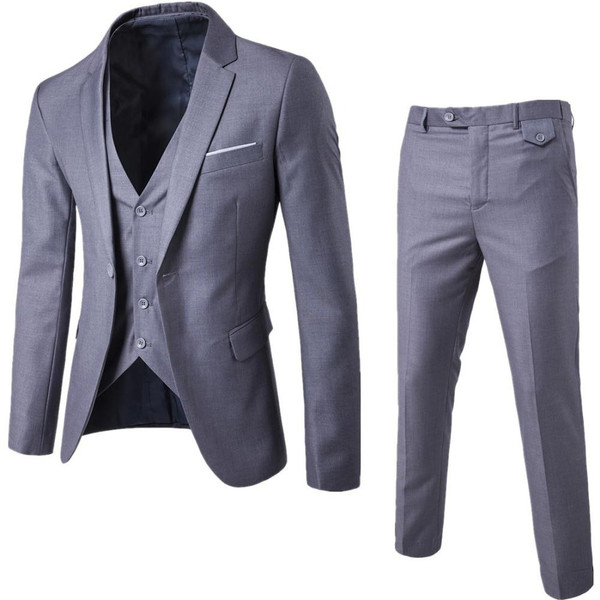 3Pcs/Set Luxury Plus Size Men Suit Set Formal Blazer+Vest+Pants Suits Sets Asian Size For Men's Wedding Office Business Suit Set - Joelinks store