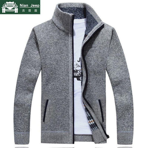 2019 New Sweater Men Autumn Winter SweaterCoats Male Thick Faux Fur Wool Mens Sweater Jackets Casual Zipper Knitwear Size M-3XL - Joelinks store