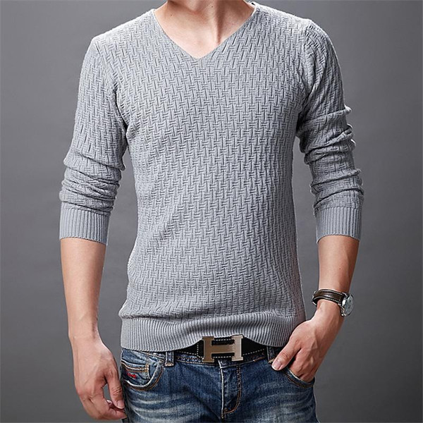 2020 New Autumn Winter Sweater Men Solid Casual V-Neck Pullover Men Cotton Mens Sweaters Pull Homme - Joelinks store