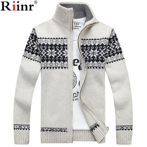 Riinr 2019 New Arrivals Casual Sweater Men Striped Christmas Sweater Windbreaker Warm Fashion Cardigan Men Sweaters - Joelinks store