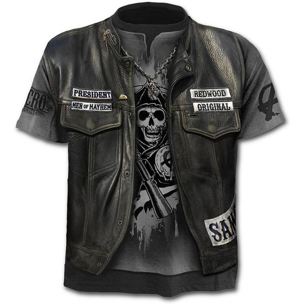 2020 New Fake Jacket Print T-Shirt Skull 3d T-Shirt Summer Trendy Short Sleeve T-Shirt Top Men/Female Short Sleeve Top - Joelinks store