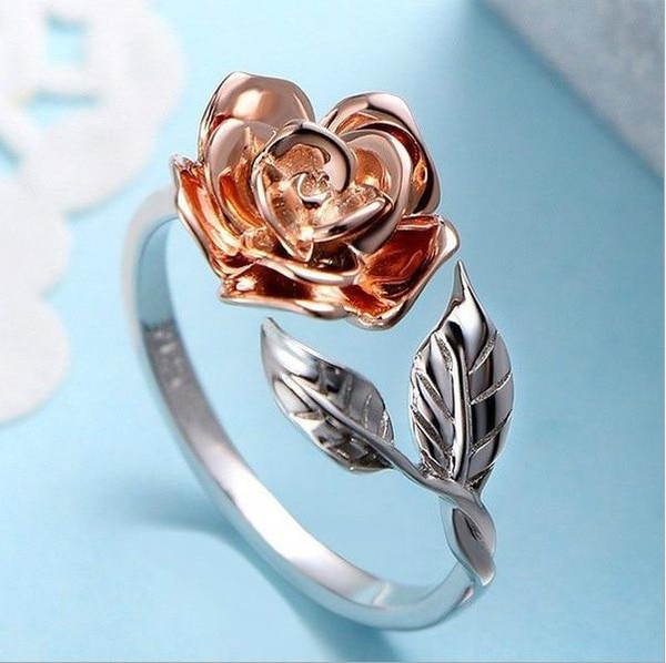 Best Selling New Rose Ring Plated Rose Gold Open Ring Creative Fashion Trend Ring Rings for Women  Rose Gold Ring  Ring - Joelinks store