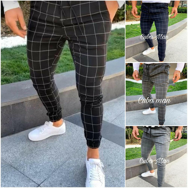 2020 sexy high wasit spring summer fashion pocket Men's Slim Fit Plaid Straight Leg Trousers Casual Pencil Jogger Casual Pants - Joelinks store