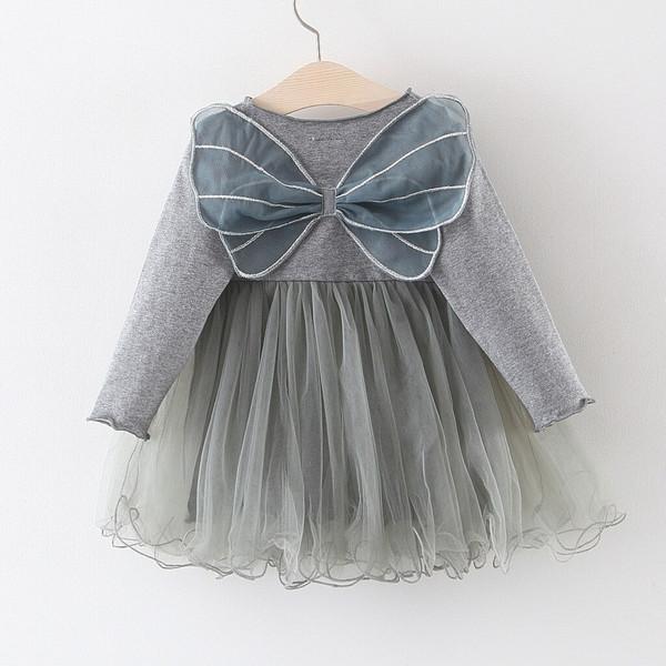 Grey Winged Pixie Girls Dress