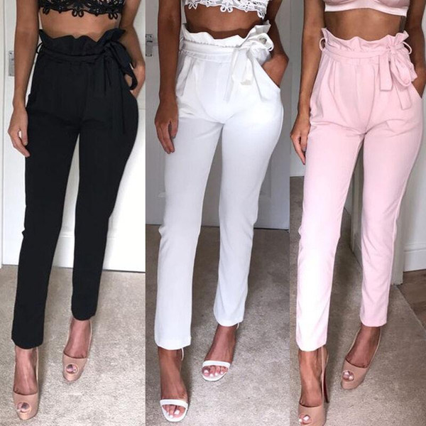 arrival High Waist Pencil Pants Women Casual Elegant Pockets Pants Female Solid skinny Trousers Female Bottom OL Pants