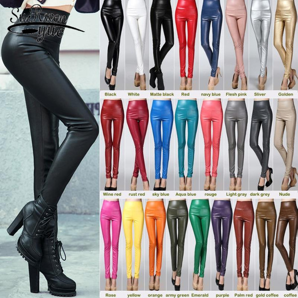 Elastic Stretch Faux Leather Autumn Winter Pencil Pant Women Velvet PU Leather Pants Female Sexy Skinny Tight Trouser 7172 50
