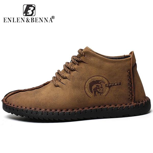 2018 Fashion Leather Shoes Men Full Handtailor Vintage Sneakers Huarache Moccasins Non-slip Super Hot Flats Black Plus Sizes 46 - Joelinks store