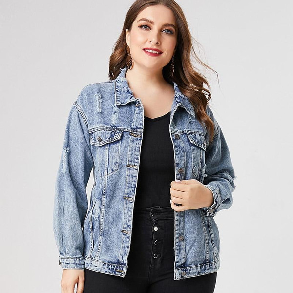 2020 Spring Plus Size Denim jacket woman ladies fashion jean coats and jackets