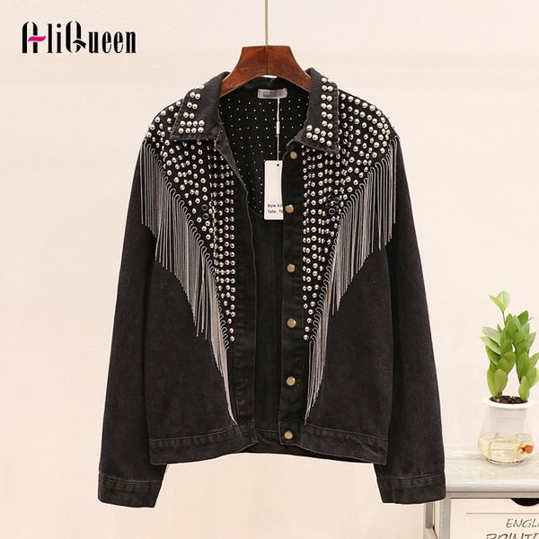 Chaquetas Mujer 2019 Autumn Streetwear Denim Jacket Women Hand-studded Rivet Tassel Chain Short Jeans Jacket Loose Black Coats