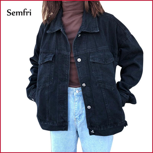 Semfri Jacket Women Black Denim Jacket Winter Jeans Coat Casual Harajuku Streetwear Female Vintage Jeans Coat Dropshipping