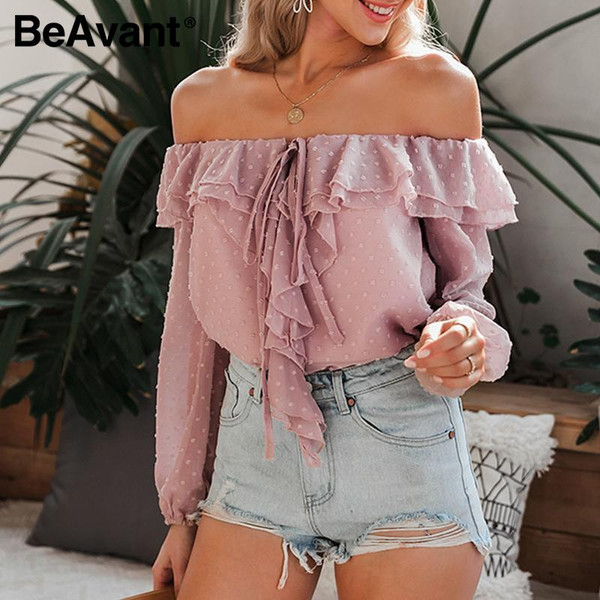 BeAvant Polka Dot Spring Summer Blouses and Shirts Women Long Sleeve Fashion Ruffles Casual Top Blouse Off Shoulder Sexy Blusas