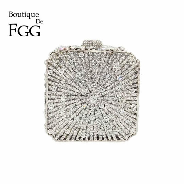 Boutique De FGG Dazzling Crystal Women Evening Box Clutch Bag Wedding Bridal Minaudiere Handbags and Purses Ladies Party Clutch
