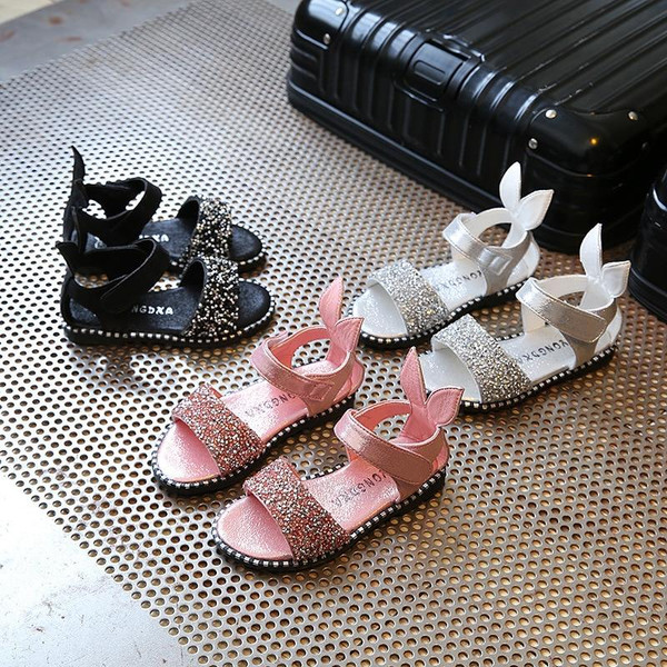 2019 Baby Girl Sandals Fashion Cute Pink Bling Shiny Rhinestone Toddler Girls Shoes with Rabbit Ear Kids Flat Sandals Children