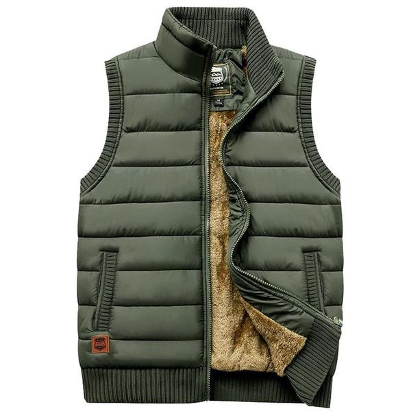 Newest 2020 Autumn Winter Men Coat Warm Sleeveless Jacket Casual Men Vest Coat Fleece Army Green Waistcoat Big Size 5XL