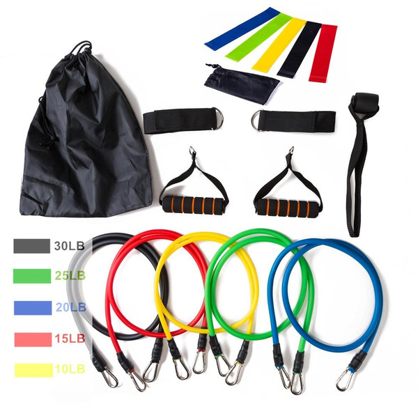 17Pcs/Set Latex Resistance Bands Gym Door Anchor Ankle Straps With Bag Kit Set Yoga Exercise Fitness