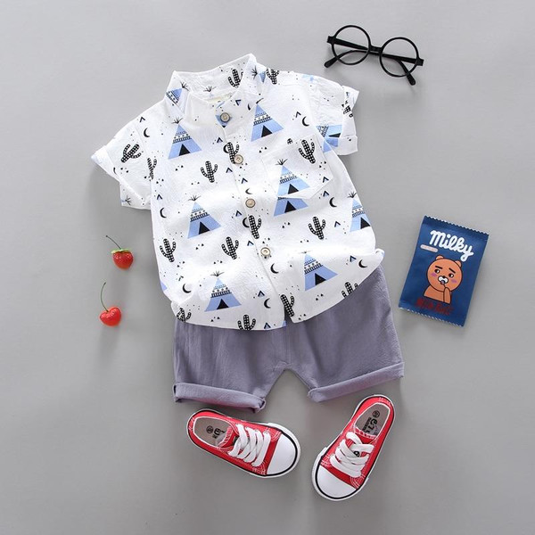 summer Children's suit Clothes Sets  children's clothing  Boys and girls Short sleeve shirt and Pants 2 pieces Clothing sets