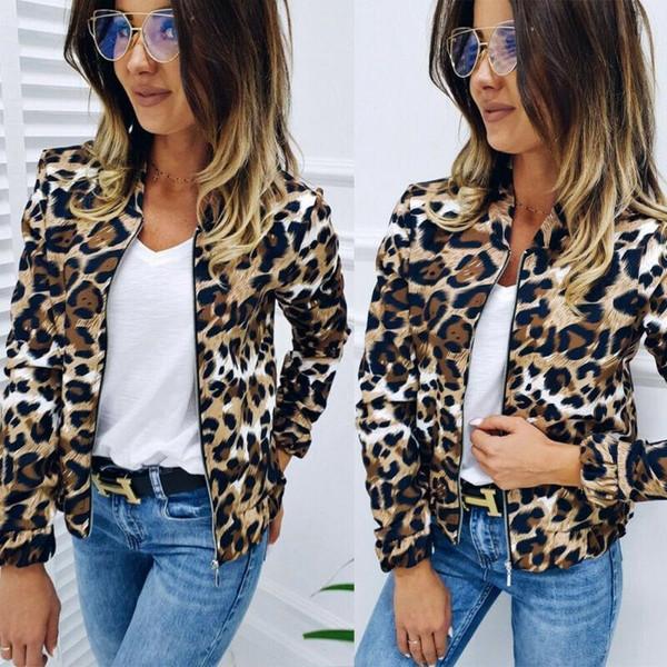 2020 Autumn Leisure Comfort Women Ladies Leopard Printed Jackets Autumn Warm Female Zipper Stitch Trendy Girls Jacket
