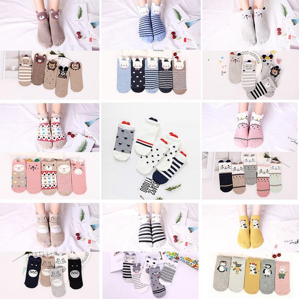 5 Pairs Women Socks Cotton Cute Cartoon Animal Cat Fox Dog Red Heart Female Boat Ankle Socks Short Ear Socks Slippers Summer