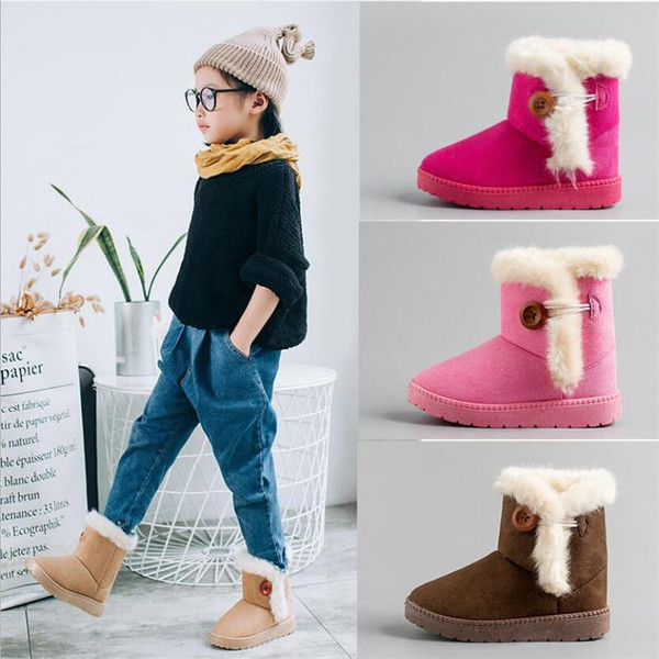 MHYONS 2018 New Winter Children Boots Thick Warm Shoes Cotton-Padded Suede Buckle Boys Girls Boots Boys Snow Boots Kids Shoes B9 - Joelinks store