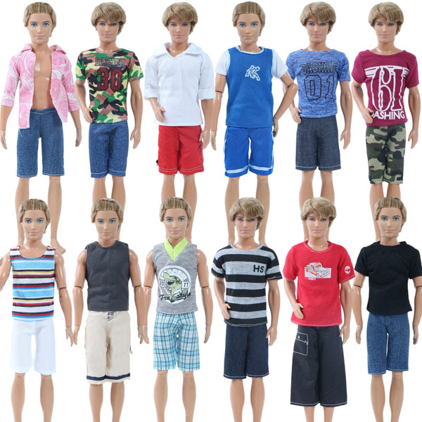 3 Pcs/Lot Short Men Outfit Summer Sport Outfit Shirt Pants Clothes for Barbie Boy Friend Ken Doll 1:6 Puppet Accessories Toy