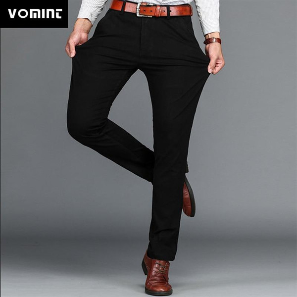 Vomint Brand Mens Pant Classics Casual  Stretch trousers regular Straight Pant Black
