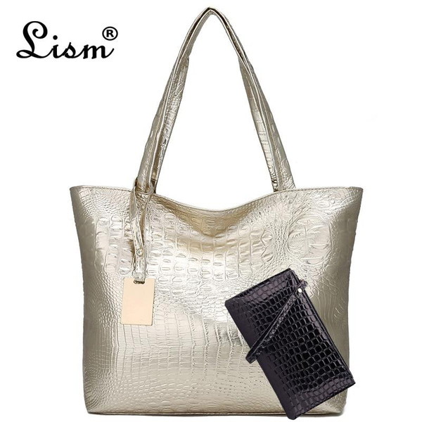 2 pieces/Brand luxury ladies crocodile handbag  shoulder bag large capacity