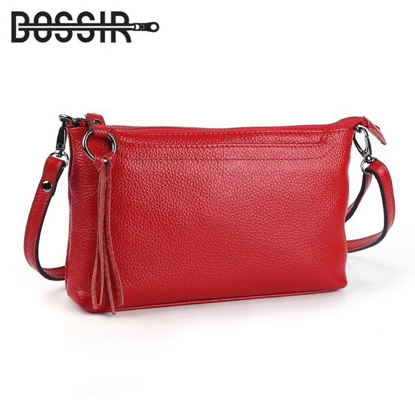 Cowhide Genuine Leather Women Messenger Bags Tassel Crossbody Bag Small Handbags