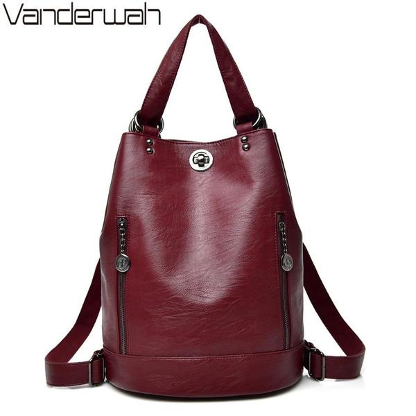 2020 Female backpack mochila feminina casual Multifunction Women Leather Backpack