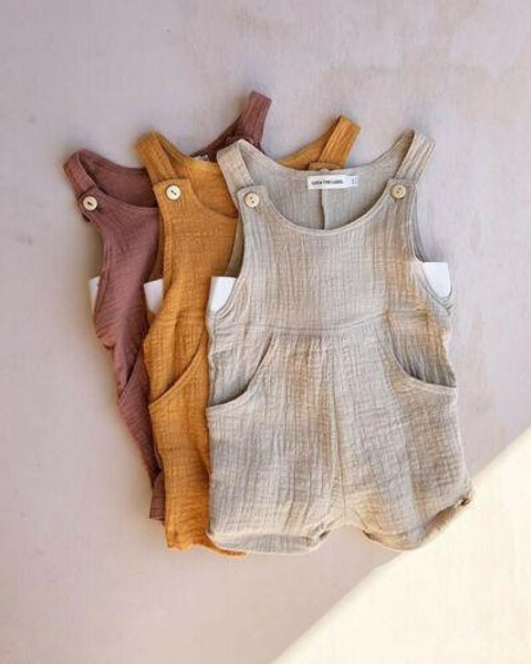 0-3T Summer Solid Rompers Newborn Infant Baby Girl Boy Outfit Cotton