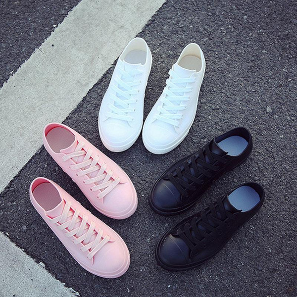 Women White Sneakers Shoes Waterproof  Casual Shoes Rubber Rain Boots