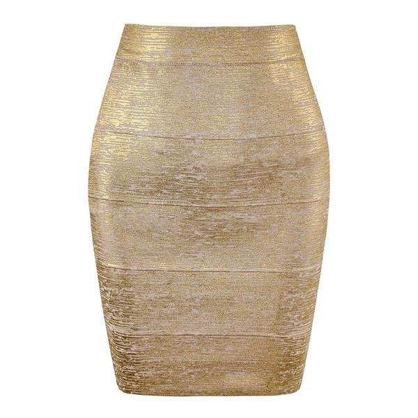 Wholesale Women Summer Fashion Sexy Gold Bronzing Bandage Skirt