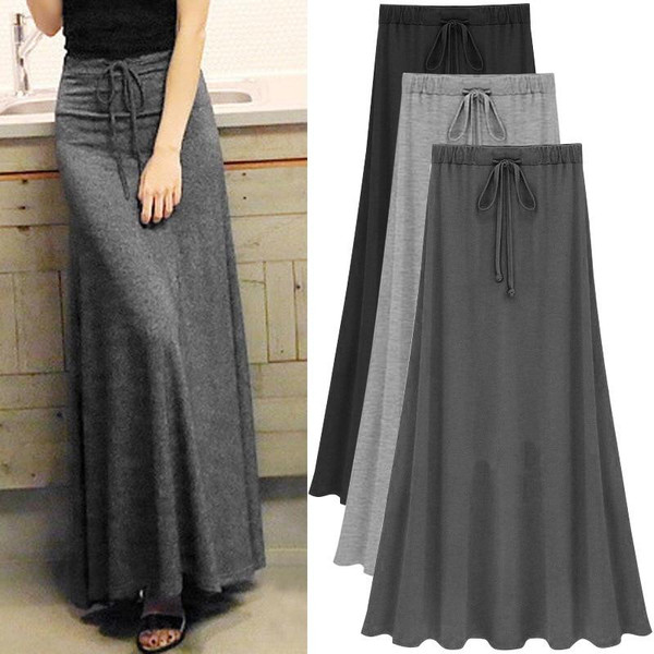 Womens Elastic Waist Plus Size A-line Skirts Large Size Knitted Skirts