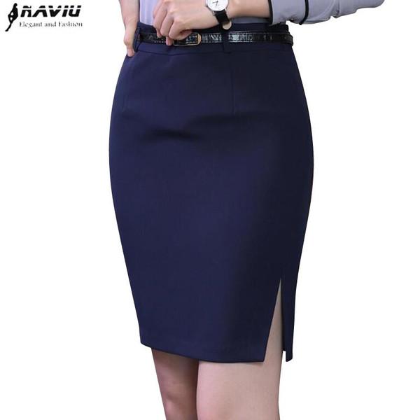 Spring fashion slim black navy blue skirt women elegant all-match