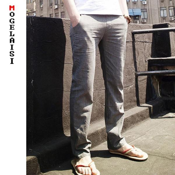 2020 Flax Pants Men Full Linen Cotton Pants Waistline Range