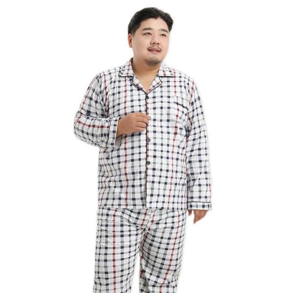2020 Spring New Cotton Simple plaid pyjamas men Sleepwear casual cozy night wear