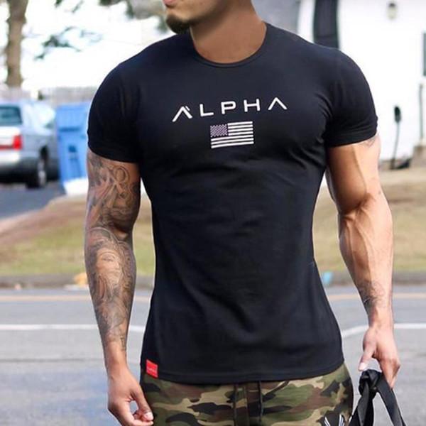 Men Short sleeve Cotton T-shirt Casual Black Print Gym Fitness