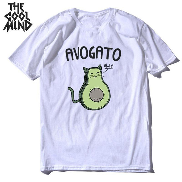 COOLMIND 100% cotton big size cat print men T shirt casual loose summer men