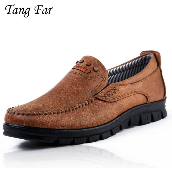 Men's Leather Casual Shoes Soft Moccasins Men Loafers Autumn Spring New Fashion Sneakers Male Boat Shoes Slip On Plus Size 47-39 - Joelinks store